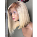Pre Plucked Short Brazilian Remy Hair 4/613#  Silky Straight Full Lace Wigs With Baby Hair Bleached Knots 【00460】