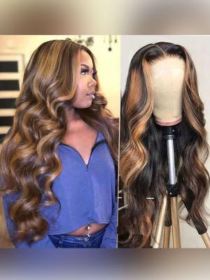 Elva Highlight 1b#H27# Body Wave Blond Highlight 13x6 Lace Front Human Hair Wigs【00950】