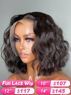 FLASH SALE !!! FULL LACE WIG Bob Wig Ocean Wave Pre Plucked Brazilian Remy Hair Wig Glueless Full Lace Wig Bleached Knots Swiss Lace【00368】