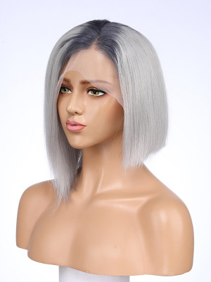 Short Human Hair Wigs Two Tone Color Brazilian Glueless Lace Front Wig For Black Women Ombre Straight Remy Hair Bob Wig 【00505】