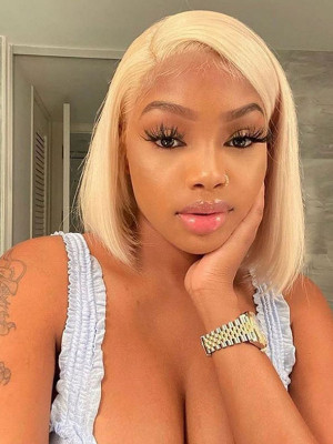 Elva Hair Pre Plucked Brazilian Remy Hair 613#  Short Bob Silky Straight 13*6 Lace Front Wigs 150 Density With Baby Hair 【00845】