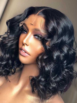 Elva Hair Pre Plucked Loose Wave Bob Brazilian Remy Hair 13x6 Lace Front Wigs 150 Density Swiss Lace【00865】