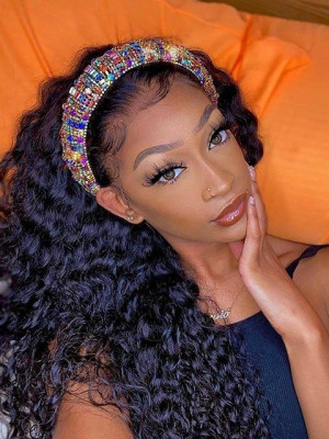 Elva Hair Curly Headband Wig 150% Density Brazilian Remy Hair【00968】