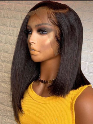 Short Brazilian 13X6 Silky Straight Lace Front Bob Wigs With Baby Hair Pre Plucked Swiss Lace【00330】