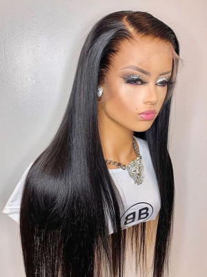 Elva Hair Pre-plucked 13x6 HD Lace Front Wigs Silky Straight Brazilian Remy Hair 150 Density 【00975】