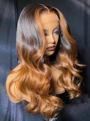 Elva Hair Wigs Pre-plucked Glueless Ombre Color 1b#T27# Body Wave Brazilian Remy Hair 370 Lace Human Hair Wig【00115】