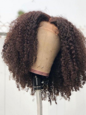Kinky Curly Remy Human Hair 13x4  Lace Front Bob Wigs  For Black Women【00119】