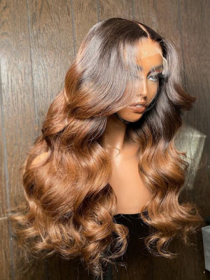 Elva Hair Body Wave Brazilian Remy Hair Ombre Color 13x6 Lace Front Human Hair Wigs【00143】