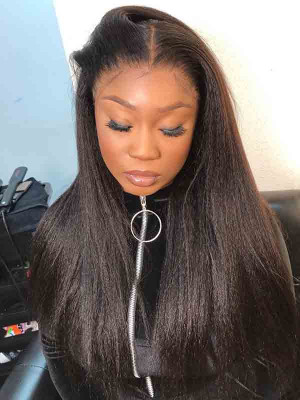 Full Lace Human Hair Wigs For Black Women Pre Plucked With Baby Hair Yaki Straight Brazilian Remy Hair Wigs 【00807】