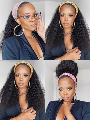 Elva Hair Deep Wave Headband Wig 150% Density Brazilian Remy Hair【00963】