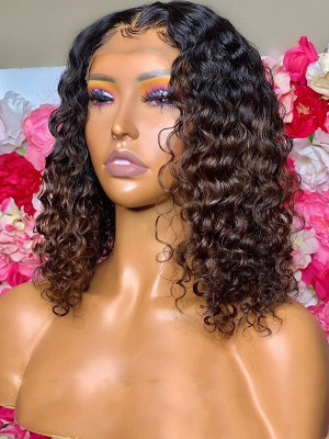Elva Hair Bob Curl Brazilian Remy Hair Ombre Color 1BT8# 13x6 Lace Front Human Hair Wigs 150 Density 【00755】