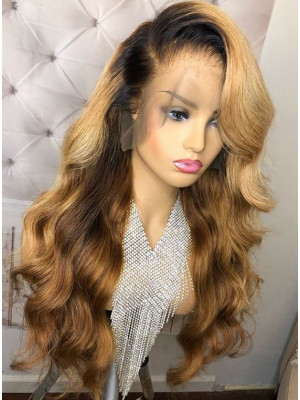 Elva Hair Body Wave 1BT27# Ombre Color Honey Blonde 13x6 Lace Front Human Hair Wigs 150 Density Brazilian Remy Hair 【00751】