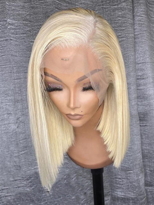 Elva Hair Pre Plucked Brazilian Short Bob Remy Hair 613# Silky Straight 13*6 Lace Front Wigs 150 Density With Baby Hair 【00841】