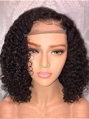 Pre Plucked Kinky Curly Brazilian Remy Hair  Full Lace Bob Wigs 130% Density Swiss Lace Bleached Knots【00382】