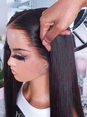Elva Hair 370 Lace Wig Brazilian Remy Hair Silky Straight  Pre plucked With Baby Hair Swiss Lace 【00111】