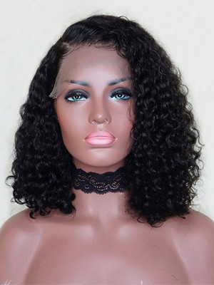 Elva Hair Water Wave Brazilian Remy Hair 13*4 Lace Front Bob Wigs 130 Density Pre plucked Hairline With Baby Hair Swiss Lace【00332】