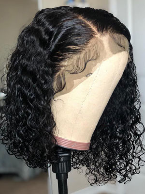 Curly Bob Wig Remy Hair 13x6 Lace Front Human Hair Wigs 150 Density 【00476】