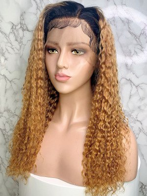 Elva Hair 1BT27# Jerry Curl Brazilian Remy Hair Ombre Color 13x6 Lace Front Human Hair Wigs 150 Density 【00753】