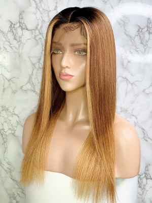 Elva Hair Ombre Color 1bT6#T27# Color Silky Straight Brazilian Remy Hair 13x6 Lace Front Human Hair Wigs 150 Density 【00752】
