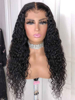 Elva Hair Pre Plucked Water Wave Brazilian Remy Hair 13x6 Lace Front Wigs 150 Density  Swiss Lace【00823】