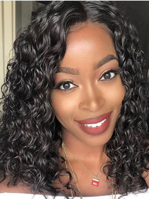 Elva Hair Pre Plucked  Water Wave Brazilian Remy Hair Bob Wig 13x6 Lace Front Wigs 130 Density 【00740】