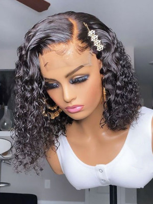 Pre Plucked Water Wave 13x6 Lace Front Bob Wigs 150 Density Bleached Knots 【00676】