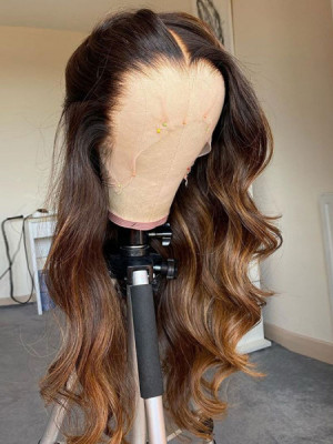 Elva Hair Ombre 1b#T27# Body Wave Brazilian Remy Hair Pre-plucked 13x6 Lace Front Human Hair Wigs【00972】