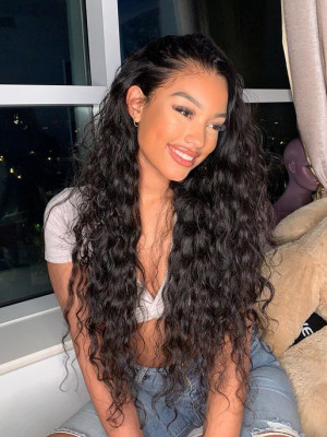 Elva Hair 370 Lace Wigs Brazilian Remy Hair Natural Wave 150% Density Swiss Lace Pre plucked Hairline For Black Women【00670】