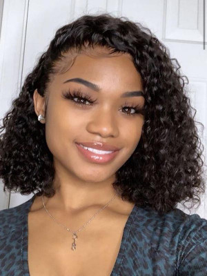 Elva Hair Pre Plucked Deep Curly Bob Brazilian Remy Hair 13x6 Lace Front Wigs 150 Density Swiss Lace【00863】