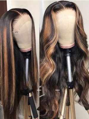 Elva Highlight 1b#T27# Body Wave Brazilian Remy Hair Pre-plucked 13x6 Lace Front Human Hair Wigs【00950】