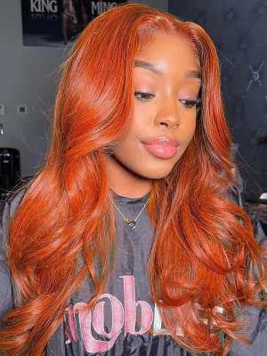 13x2 Lace Front Wigs Autumn Season with Autumn Color, Ginger Body Wave. Who Wanna Kill This One? 【00168】