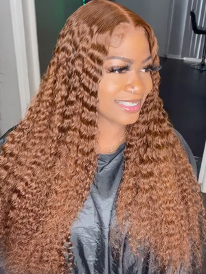 Elva Pre Plucked Ginger Color Brazilian Remy Hair Wet Wave 13x6 Lace Front Wigs Brazilian Deep Curly【00165】