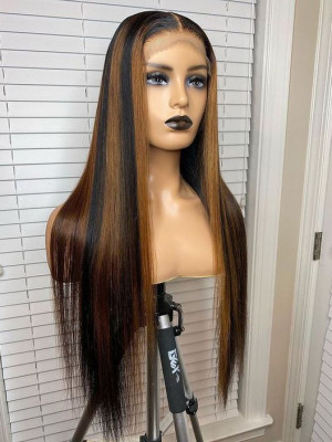 Elva Hair Ombre Color 1bH 27# Bob Wig Brazilian Remy Hair 13x6 150 Density Lace Front Human Hair Wigs Silky Straight【00745】