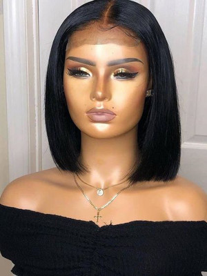 Elva Silky Straight  13x6  Lace Front Bob Wigs Swiss Lace Pre Plucked Hairline With Baby Hair Bleached Knots 【00231】