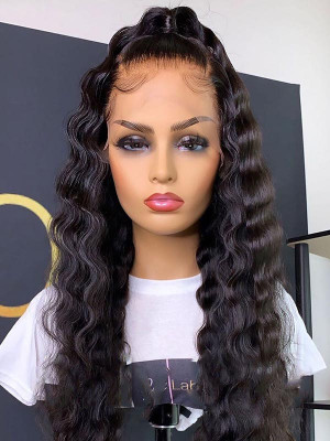Elva 370 Lace Wig With Fake Scalp Brazilian Remy Hair Natural Wave 150% Density Fake Scalp Wigs Pre plucked Hairline Swiss Lace 【00835】