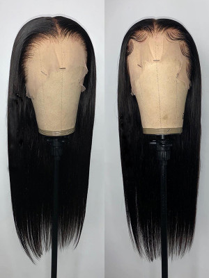 Elva Hair  Silky Straight Brazilian Remy Hair Pre Plucked13x6 Lace Front Wigs 150 Density Swiss Lace【00800】