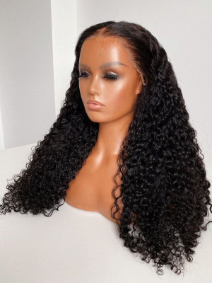 Elva Hair Pre Plucked Natural Curly Brazilian Remy Hair 13x6 Lace Front Wigs 150 Density  Swiss Lace【00828】
