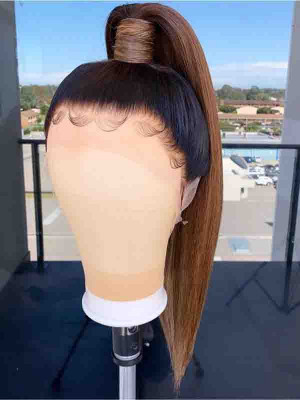Elva Hair 1BT4# Silky Straight Brazilian Remy Hair 13x6 Lace Front Human Hair Wigs 150 Density 【00804】