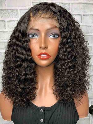Elva Hair Pre Plucked Deep Curly Short Bob Brazilian Remy Hair 13x6 Lace Front Wigs 150 Density Long Bouncy Curl Swiss Lace【00817】