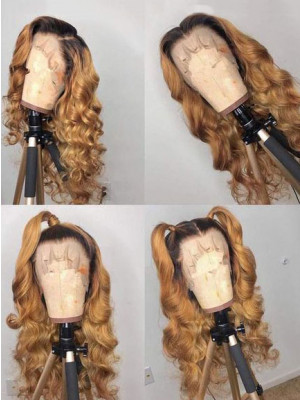 Elva Hair Body Wave 1BT27# Honey Blonde Ombre Color 13x6 Lace Front Human Hair Wigs Brazilian Remy Hair 【00951】