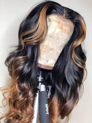 Elva Hair Ombre 1b#T27# Body Wave Brazilian Remy Hair Pre-plucked 13x6 Lace Front Human Hair Wigs【00978】