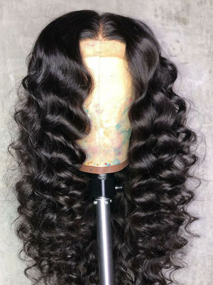 Heavy Density Remy Hair Deep Wave 13x6 Lace Front Wigs Pre Plucked Natural Hairline Swiss Lace【00221】