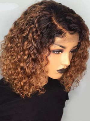 Elva Hair Jerry Curl 1BT8# Brazilian Remy Hair Ombre Color 13x6 Lace Front Human Hair Wigs 150 Density 【00747】