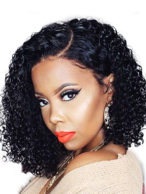 Elva Hair 370 Lace Wig Brazilian Remy Hair Kinky Curly Bob Wigs 150% Density For Black Women Swiss Lace【00660】