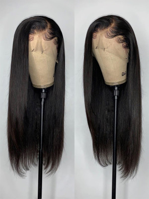 Elva Hair Pre Plucked Silky Straight Brazilian Remy Hair 13x6 Lace Front Wigs Swiss Lace【00781】