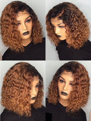 Elva Hair Ombre Color 1BT8# 13x6 Lace Front Brazilian Remy Human Hair Bob Curly Wigs【00958】