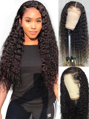 Elva Pre Plucked Deep Curly Brazilian Remy Hair 13x6 Lace Front Wigs 130 Density Swiss Lace【00767】