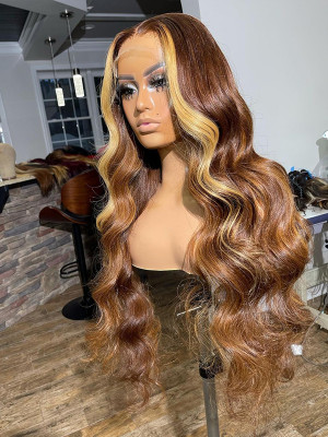 OMG! SHORT OR LONG WIG? Classy Wave Highlight Color 4#H27# 13x6 Lace Front Human Hair Wigs【00989】