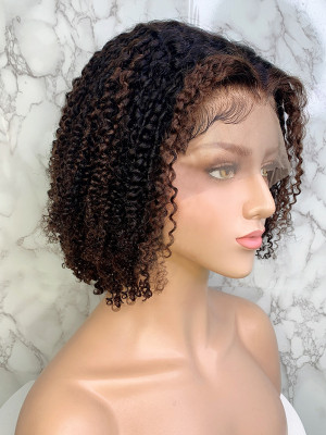 Elva Hair Ombre Color 1b 4# Bob Wig Deep Curly Brazilian Remy Hair 13x6 150 Density Lace Front Human Hair Wigs【00750】