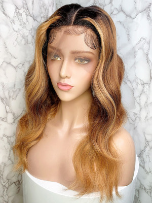 Elva Hair 3T Color Body Wave Brazilian Remy Hair Ombre Color 1BT6#T27# 13x6 Lace Front Human Hair Wigs 150 Density 【00748】